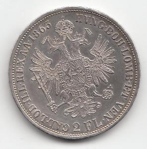 """Fr.J.I., 2 zlatník 1865 A """"RR""""  vzácny roč., super stav TOP, od 1 Kč"""