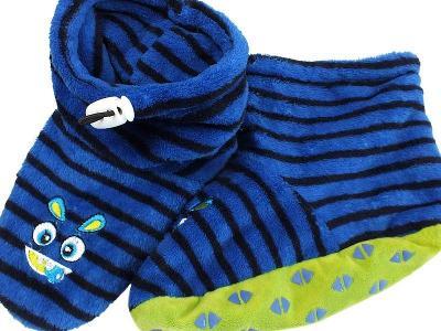 TOP STAV! MONSTER plyšáčkové, ponožkové bačkůrky, vel.36/37