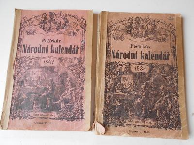 2 x Pečírkův NÁRODNÍ KALENDÁŘ 1931 - 34