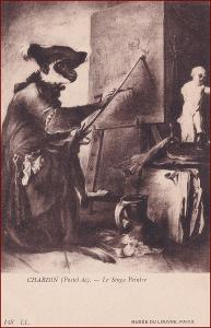 Malíř * zvířata jako lidé, obraz, plátno, socha, umělecká * X331