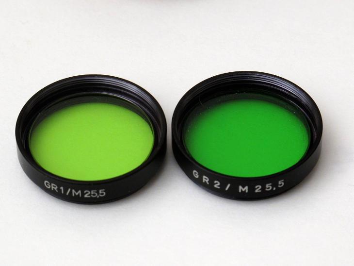 #3142A sada - 2x filtr zelený - GR1 a GR2 M25,5 a pouzdra  - Foto