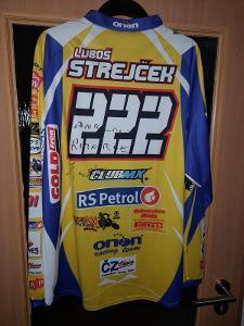 Závodní dres motokrosáře Luboše Strejčka.
