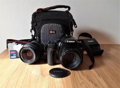 CANON EOS 450D + EF-S 18-55mm, EF 50mm + příslušenství