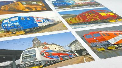 Pohlednice lokomotivy a vagóny 6 kusů