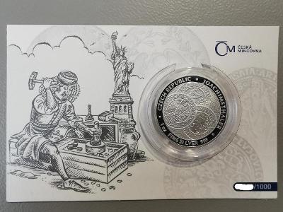 Stříbrná 1oz investiční mince Tolar - Česká rep. 2021 proof číslovaná