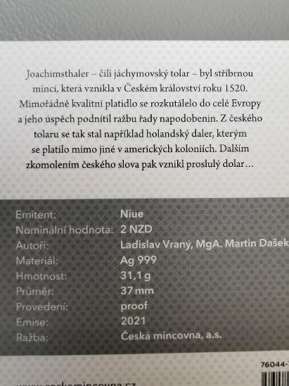 Stříbrná 1oz investiční mince Tolar - Česká rep. 2021 proof číslovaná - Numismatika