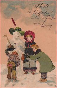Nový rok * sněhulák, děti, humor, litografie, gratulační * M2994