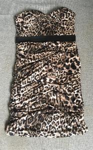 Řasené leopardí el. šaty - L, Tally Weijl- Top stav