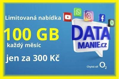 Datamánie / Datamánia - O2 SIM karta z limit edice 100GB za 300 Kč/měs