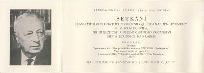ROUDNICE n. L. -  ČESTNÉ OBČANSTVÍ - M. V. Kratochvíl