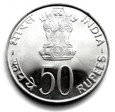 Indie, stříbrná 50 rupie 1974, proof