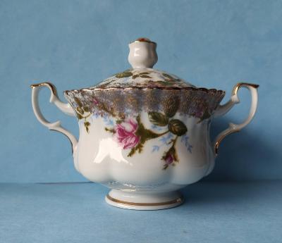 CUKŘENKA porcelán zdob. růže tisk zlacení barokizující zelené značení?