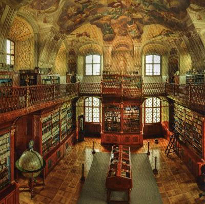 klášter Rajhrad - interiér benediktínské knihovny