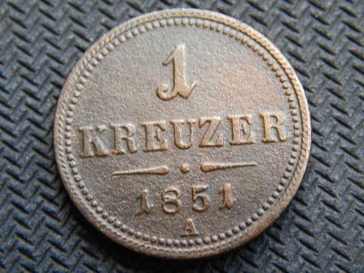 mince / Rakousko Uhersko / 1 krejcar 1851 A / krásný / top