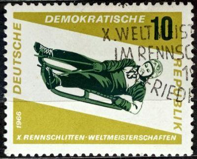 DDR: MiNr.1156 Tobogganing, Women's Singles 10pf 1966