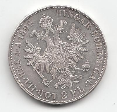 """Fr.J.I., 2 zlatník 1892, """"R"""" - vzácny ročník, super stav"""