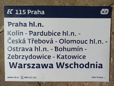 Směrová cedule - EC 114/115 PRAHA