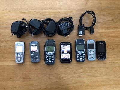 Konvolut telefonů+nabíječky a dat.kabel