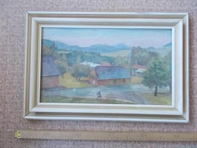 Obraz originál akvarel Hapka Valašsko Vsetín dřevěnicerám  sklo podpis