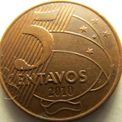 Brazílie 5 Centavos z roku 2010