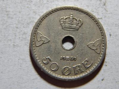 Norsko 50 Ore 1939 XF č25405