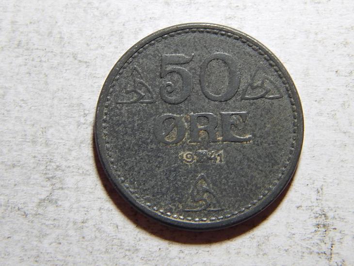 Norsko 50 Ore 1941 Zn XF č25234 - Numismatika