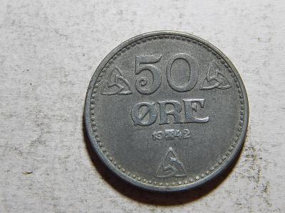 Norsko 50 Ore 1942 Zn XF-UNC č25248