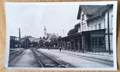 Stará pohlednice Příbor - nádraží