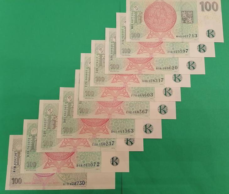 💎 100 korun, 10 ks  -  všechny vydané serie  -   špičkový stav UNC 💎 - Bankovky