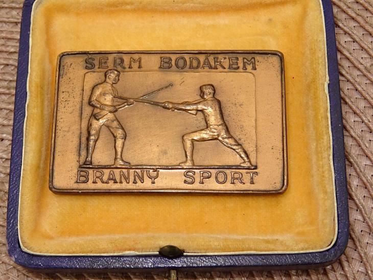 Medaile - plaketa - sport. cena - Šerm bodákem - Branný sport - Žilina - Faleristika