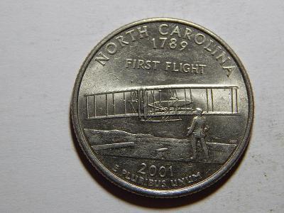 USA 1/4 Dollar 2001 P North Carolina XF č25014