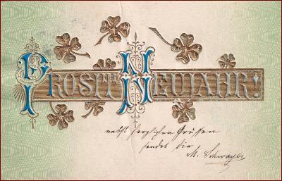 Nový rok * čtyřlístek, nápis, tlačená, zlacená, gratulační * X485