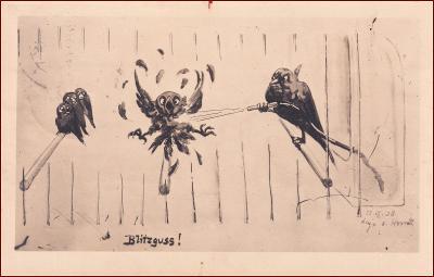Humor * ptáci, klec, peří, voda, hadice * X391