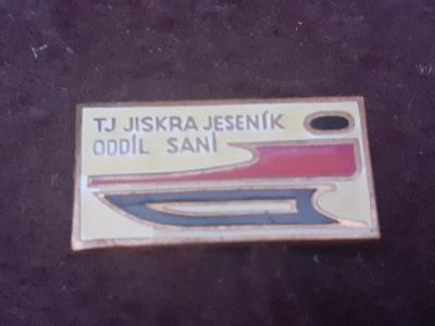 Odznak TJ Jiskra Jeseník - oddíl saní, bílá varianta