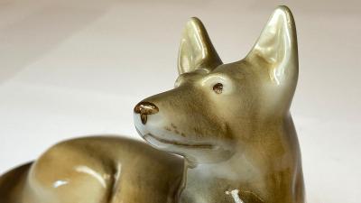 Soška figurka psa DUX Czechoslovakia nepoškozená