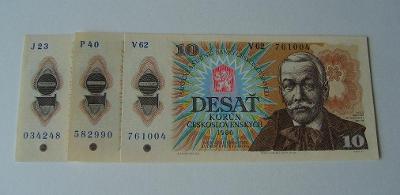 ČESKOSLOVENSKO - 10 Kčs 1986 sada J,P,V, **UNC.**