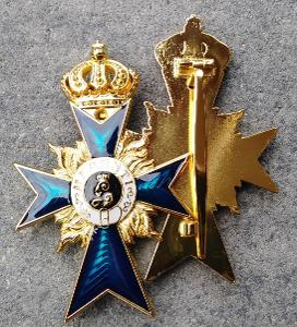PRUSKO Medaile ŘÁD 1866 Merenti smalt modrý kříž pin BLUE MAX replika