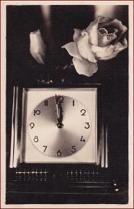 Nový rok * hodiny, květiny, růže, gratulační * X103