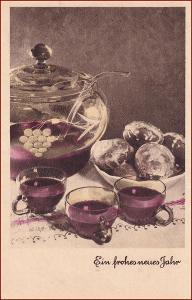 Nový rok * alkohol, punč, víno, nádobí, gratulační * X139