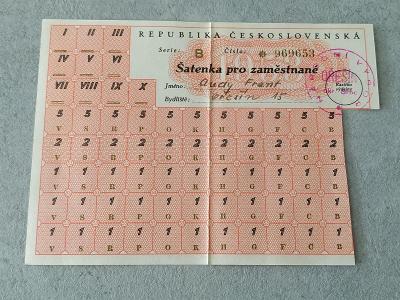 Doklad Dokument Znak Lístek Šatenka pro zaměstnané ČSR NV Ořešín Brno