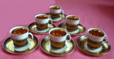 Karlovarský porcelán Chodov  6x  ŠAPO - silně zlacené