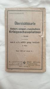 Rakousko-Uherská válečná mapa z 1.světové války-válečné území 1914/18