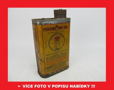 FIREZONE OIL - AUTOAVIA PRAHA - stará plechovka od oleje VELKÁ