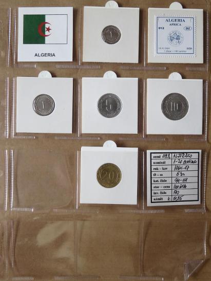 ALŽÍRSKO: nekompletní sada 5 mincí 1-20 centimes 1964-87  UNC rámečky - Numismatika