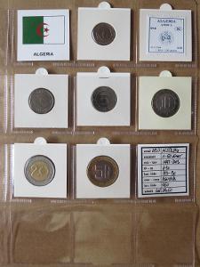 ALŽÍRSKO: nekompletní sada 6 mincí 1-50 dinars 1997-03 UNC rámečky