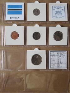 BOTSWANA: nekompletní sada 5 mincí 1-50 thebe 1984-91 UNC rámečky