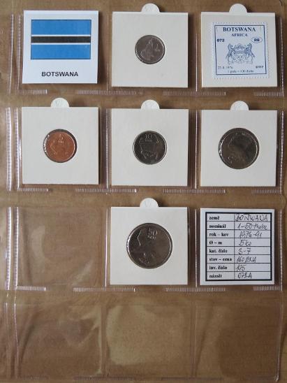 BOTSWANA: nekompletní sada 5 mincí 1-50 thebe 1984-91 UNC rámečky - Numismatika