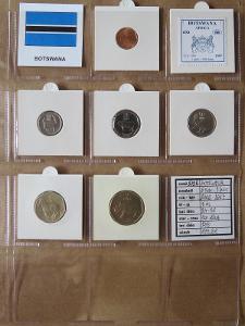 BOTSWANA: nekompletní sada 6 mincí 5 thebe-2 pula 2000-07 UNC rámečky