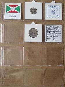 BURUNDI: nekompletní sada 2 mincí 1 a 5 francs 1980-2003 UNC rámečky