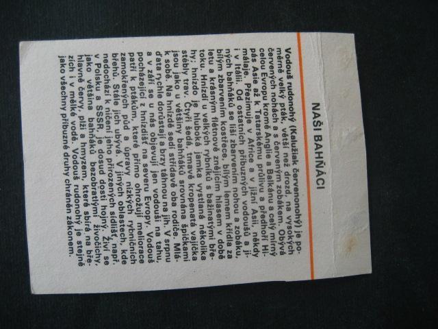 Papírová kartička Naši bahňáci s popisem - Ostatní